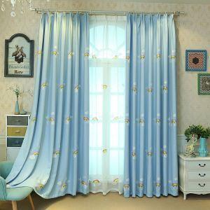 遮光カーテン オーダーカーテン キッズカーテン 虹柄 刺繍 子供屋 Sky Blue 3級遮光カーテン(1枚)