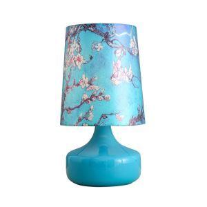 テーブルランプ 卓上照明 テーブルライト ガラススタンド 布製シェード モモの花柄 北欧風 1灯 LTMS61308