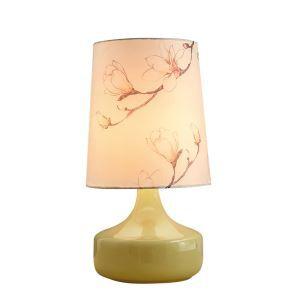 テーブルランプ 卓上照明 テーブルライト ガラススタンド 布製シェード 木蓮柄 北欧風 1灯 LTMS61310