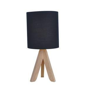 テーブルランプ 卓上照明 テーブルライト 木製スタンド 布製シェード 黒色 北欧風 1灯 LTMS61374