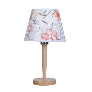 テーブルランプ 卓上照明 テーブルライト 木製スタンド 布製シェード 花柄 北欧風 1灯 LTMS61378