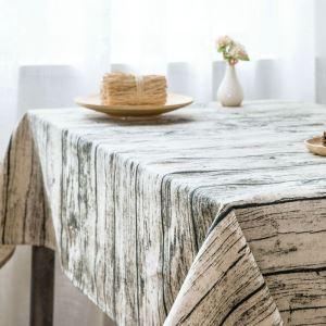 テーブルクロス テーブルカバー 撥水加工 木柄 北欧風 140*180cm 6人掛け用 LM008