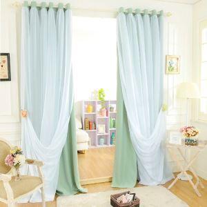 極細繊維カーテン オーダーカーテン 無地柄 現代風 1級遮光カーテン シアーカーテン付き グリーン02(1枚)