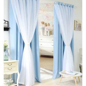 極細繊維カーテン オーダーカーテン 無地柄 現代風 1級遮光カーテン シアーカーテン付き ブルー03(1枚)