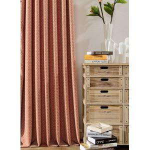 遮光カーテン オーダーカーテン 幾何柄 オレンジ 現代風 1級遮光カーテン(1枚)