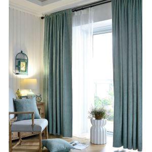 遮光カーテン オーダーカーテン ジャガード 北欧風 豪華 1級遮光カーテン 青色02(1枚)