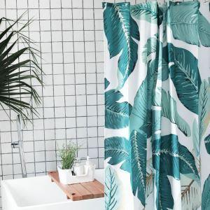 シャワーカーテン バスカーテン 防水防カビ 浴室 ダクロンカーテン 芭蕉葉柄 DP017