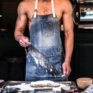 スタッフエプロン 首掛け 無地 デニム ワークエプロン カフェ レストラン 料理 美容院 保育士 男女兼用 ギフト AN003