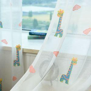 シアーカーテン オーダーカーテン 刺繍 キリン柄 子供部屋用 レースカーテン(1枚)