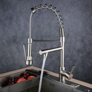 LEDキッチン蛇口 台所蛇口 2吐水口水栓 光沢