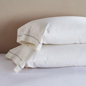 枕カバー ピロケース コットンサテン 刺繍パイピング 封筒式 2点セット B2001