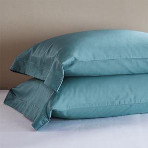 枕カバー ピロケース コットンサテン 刺繍パイピング 封筒式 2点セット B2003