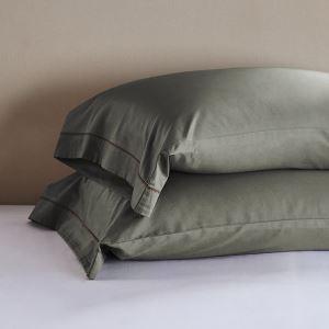 枕カバー ピロケース コットンサテン 刺繍パイピング 封筒式 2点セット B2004