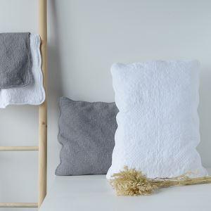 枕カバー ピロケース コットン 田舎風 キルティング 53*75cm 白色&灰色 DP002