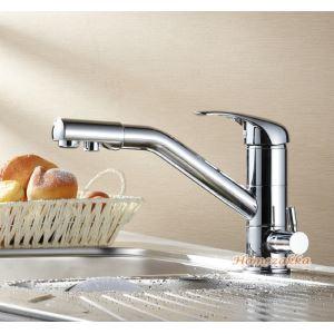 キッチン蛇口 台所蛇口 冷熱混合水栓 2吐水口水栓 360°回転 多機能