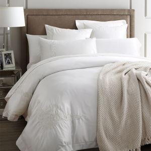 布団セット 掛け布団カバー ボックスシーツ まくらカバー 寝具カバー 敷き布団カバー ふとん ベッド共用 純綿刺繍 4点セット 白色 B04