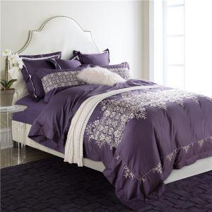 布団セット 掛け布団カバー ボックスシーツ まくらカバー 寝具カバー 敷き布団カバー ふとん ベッド共用 純綿刺繍 4点セット 紫色 B06