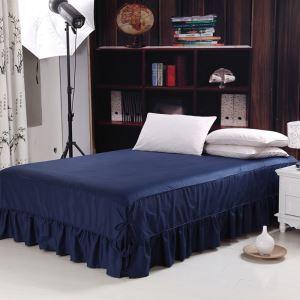 ベッドスカート シーツ 寝具カバー シンプル 綿 紺碧色 150*200cm B6001