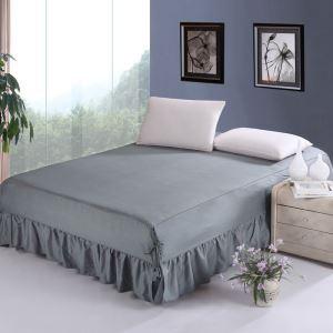 ベッドスカート シーツ 寝具カバー シンプル 綿 灰色 150*200cm B6003