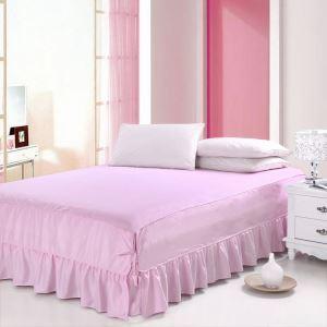ベッドスカート シーツ 寝具カバー シンプル 綿 ピンク 150*200cm B6005