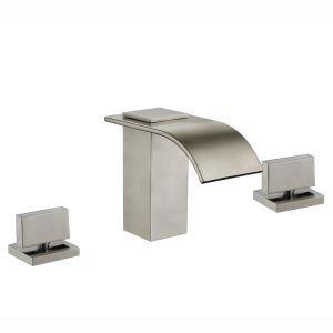 洗面蛇口 バス水栓 水道蛇口 冷熱混合水栓 2ハンドル ヘアライン HY453