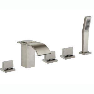 浴槽水栓 バス蛇口 シャワー水栓 ハンドシャワー付き 3ハンドル混合栓 ヘアライン HY454