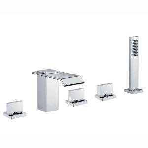 浴槽水栓 バス蛇口 シャワー水栓 ハンドシャワー付き 3ハンドル混合栓 クロム HY455