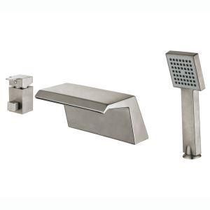 浴槽水栓 バス蛇口 シャワー水栓 ハンドシャワー付き ヘアライン HY456