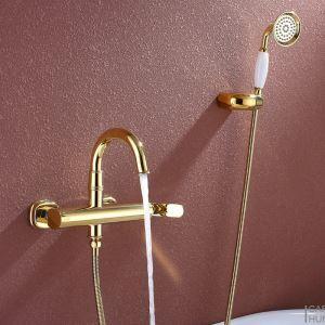 シャワー水栓 バス蛇口 混合水栓 ハンドシャワー 蛇口付き 風呂用 Ti-PVD HY463