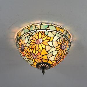 シーリングライト ティファニーライト ステンドグラス照明 玄関照明 ひまわり D30cm LTFM057
