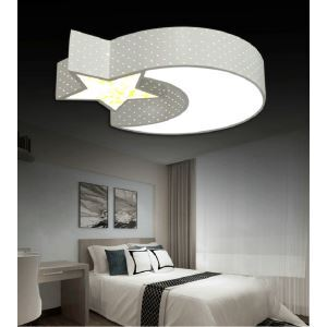 LEDシーリングライト 照明器具 天井照明 リビング 寝室 店舗 オシャレ 星&月 黒白 LED対応