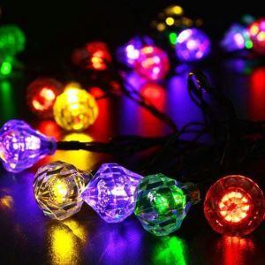 LEDイルミネーションライト LEDストリングライト ソーラーライト ダイヤ型照明 防水 パーティー 祝日飾り