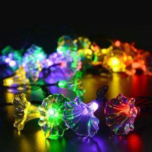 LEDイルミネーションライト LEDストリングライト ソーラーライト 朝顔型照明 防水 パーティー 祝日飾り