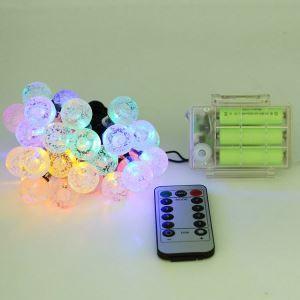 LEDイルミネーションライト LEDストリングライト 球型照明 電池式 パーティー 祝日飾り リモコン付