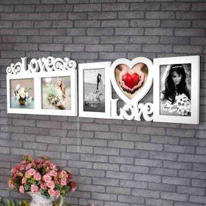壁掛けフォトフレーム 写真用額縁 インテリアフレーム フォトデコレーション 木製 2連/3連 LOVE