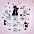 壁掛けフォトフレーム 写真用額縁 インテリアフレーム フォトデコレーション 木製 9枚セット 複数枚 猫家族