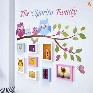 壁掛けフォトフレーム 写真用額縁 インテリアフレーム フォトデコレーション 木製 8枚セット 複数枚 フクロウ家族