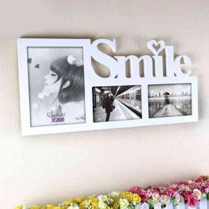 写真立て フォトフレーム 写真用額縁 インテリアフレーム フォトデコレーション 木製 3連 白色 Smile