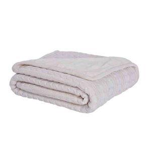 ニット毛布 ケーブルニット ブランケット 膝掛け 掛け毛布 裏起毛 ホワイト 120*180cm