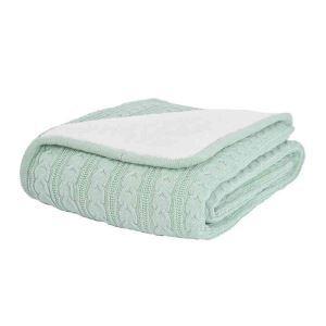 ニット毛布 ケーブルニット ブランケット 膝掛け 掛け毛布 裏起毛 ハッカ 120*180cm