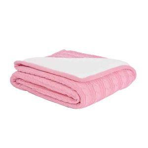 ニット毛布 ケーブルニット ブランケット 膝掛け 掛け毛布 裏起毛 ピンク 120*180cm