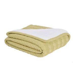 ニット毛布 ケーブルニット ブランケット 膝掛け 掛け毛布 裏起毛 黄色 120*180cm