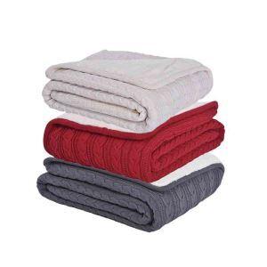ニット毛布 ケーブルニット ブランケット 膝掛け 掛け毛布 裏起毛 3色 150*200cm