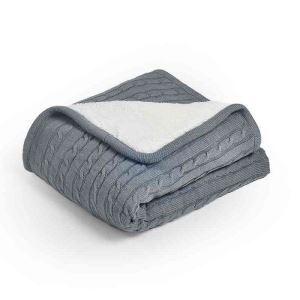 ニット毛布 ケーブルニット ブランケット 膝掛け 掛け毛布 裏ボア 無地 120*180cm