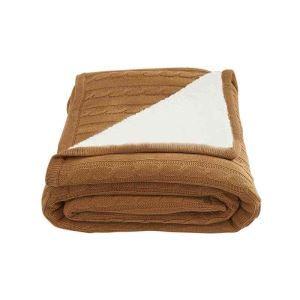 ニット毛布 ケーブルニット ブランケット 膝掛け 掛け毛布 裏ボア 北欧風 150*200cm