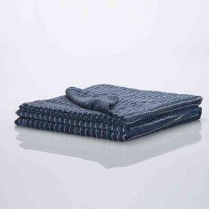 タオルケット タオル毛布 ブランケット 綿100% 縞柄 青色 140*200cm プレゼント