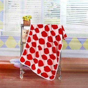 毛布 ブランケット フランネル毛布 ベビーバスタオル ひざ掛け 肩掛け 赤ちゃん用 イチゴ柄 2色 72*100cm