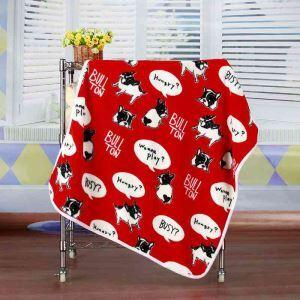 毛布 ブランケット フランネル毛布 ベビーバスタオル ひざ掛け 肩掛け 赤ちゃん用 闘牛犬柄 3色 75*100cm