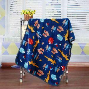 毛布 ブランケット フランネル毛布 ベビーバスタオル ひざ掛け 肩掛け 赤ちゃん用 キツネ柄 75*100cm