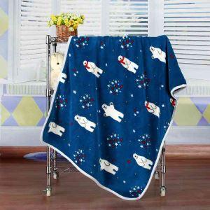 毛布 ブランケット フランネル毛布 ベビーバスタオル ひざ掛け 肩掛け 赤ちゃん用 ホッキョクグマ柄 2色 75*100cm